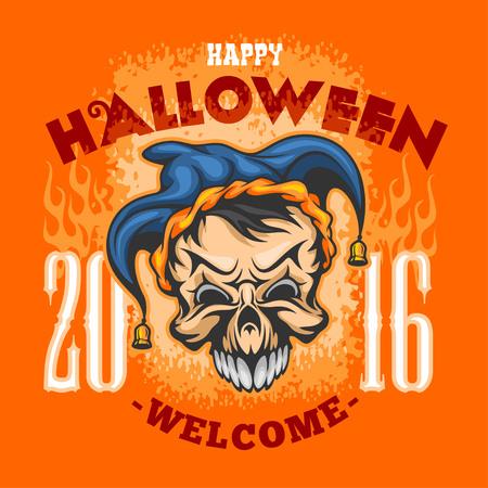 31th: Happy Halloween. Evil clown skull on grunge background Illustration