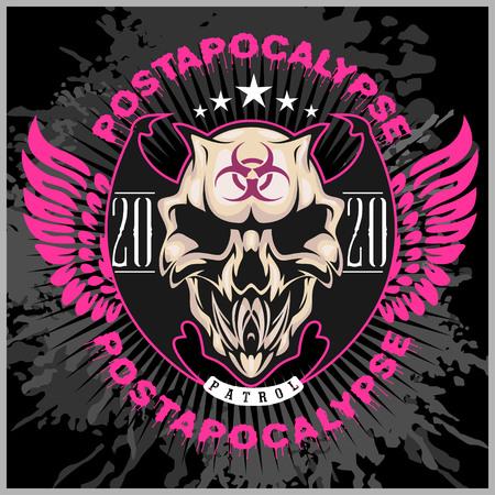 subculture: Zombi Apocalypse - emblem with skull on grunge dark background.