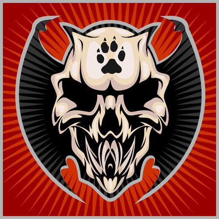 Zombi Apocalypse - emblem with skull on red background.