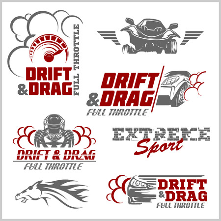 nitro: Set of sport cars logo, badge illustration. Drift, Drag racing, Tuning, Motor Sport.