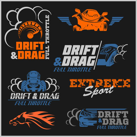 drift: Set of sport cars logo, badge illustration. Drift, Drag racing, Tuning, Motor Sport.