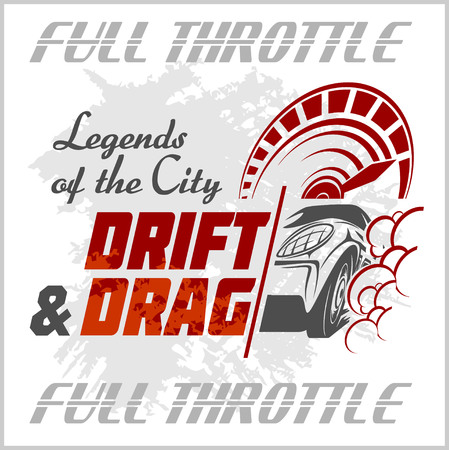 drift: Drifting Car - vector emblem for racing club. Drift and Drag on white background.