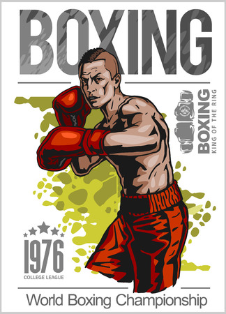 Boxing champ poster with boxer on white background vector illustration Illustration
