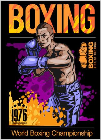 Kampioen boksen poster met bokser op zwarte achtergrond vector illustratie