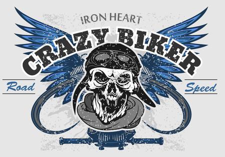 Rider skull with retro racer attributes. Grunge print. Vintage style. Vector art on light background. Illustration