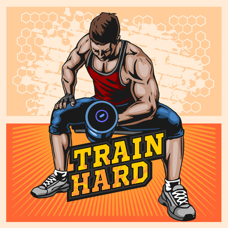 Bodybuilder doing exercise with dumbbells for biceps, vector illustration on light grunge background
