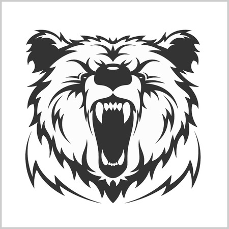 Head grizzly Brown Bear in tribal style - isolated on white Illustration