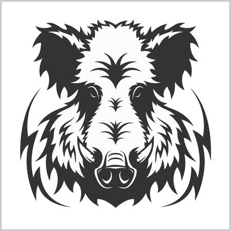 Wild Boar Head Logo Mascot Emblem - isolated on white Illustration
