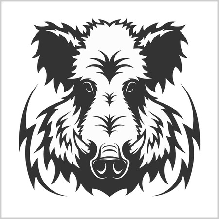 Wild Boar Head Logo Mascot Emblem - isolated on white Ilustracja