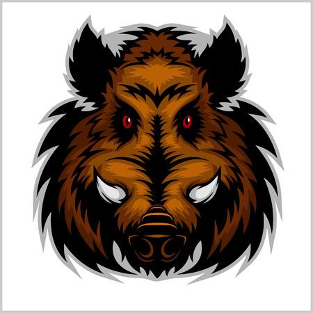 멧돼지 머리 로고 마스코트 상징 - 화이트 컬러