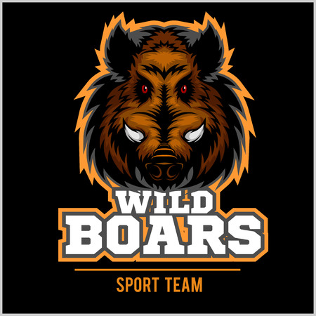 sport team: Wild Hog head Mascot on black - sport team