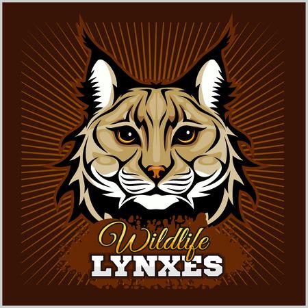 Lynxes - vector emblem. Lynx Wildcat mascot illustration Illustration