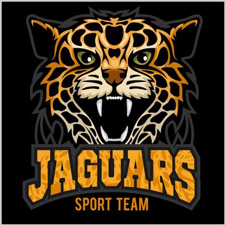 Jaguar, wild cat Panther. Vector illustration on black background.