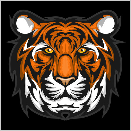 Tiger anger. Vector illustration of a tiger head on a black bacground