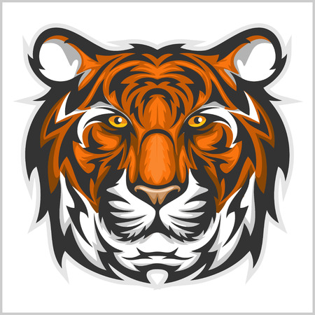 Tiger anger. Vector illustration of a tiger head on a white bacground