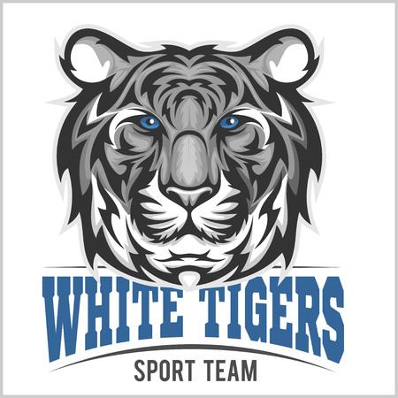 cabeza de tigre blanco - equipo de deporte, ejemplo del vector Ilustración de vector