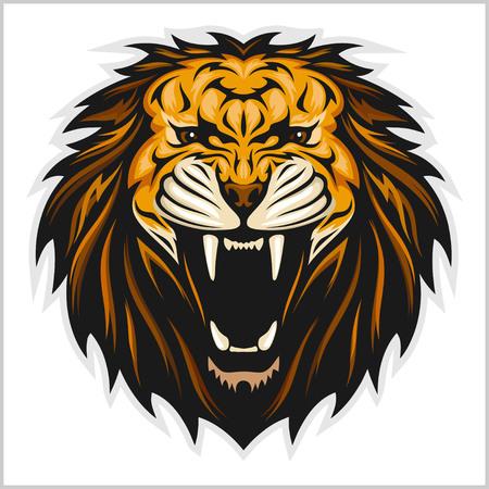 Lion head vector illustration on white background Stock Illustratie