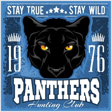 Segno di caccia club. Hunter simbolo sport squadra scudo. Safari caccia di pantera animale selvatico, logo, stella. Stile vintage