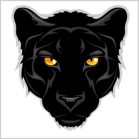 Nero Panther testa - isolato su sfondo bianco. Archivio Fotografico - 68632130