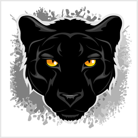 Black Panther head - on grunge gray background.