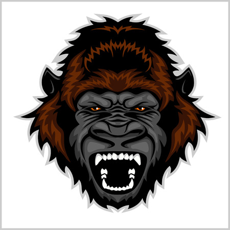Gorilla Head Cartoon - vector illustration isolated on white. Illustration