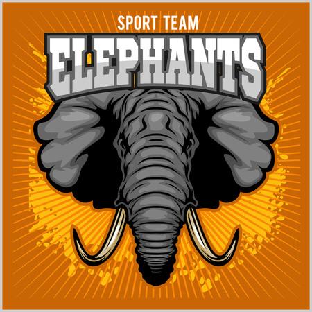 tusk: Elephants - sport club team symbol. Safari hunt badge of yellow, elephant tusk. Vector sign for africa hunting sport
