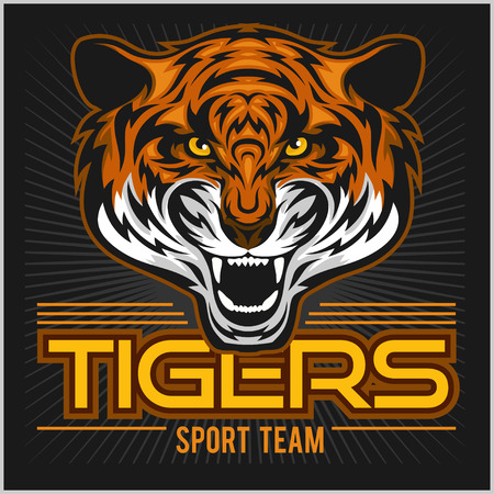 vector angry tiger face sport emblem on blsck background
