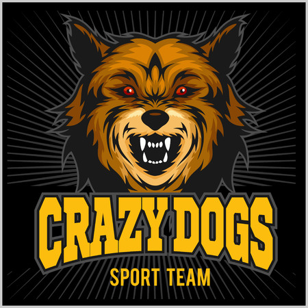Angry dog - sport team - colorful vector illustration