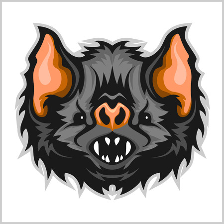 Head vampire bat - isolated on white background. Illustration