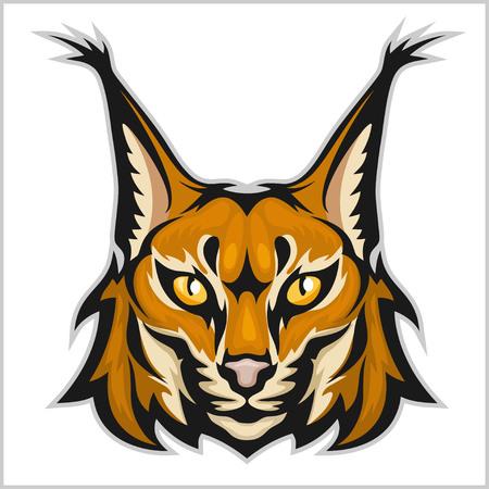 Lynx 마스코트 로고. 흰색 벡터 일러스트 레이 션에 절연 스라소니의 머리입니다.