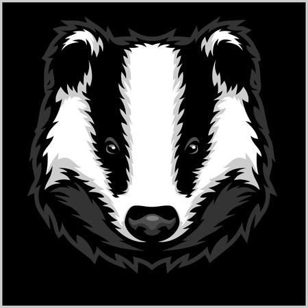 Testa di Badger in bianco e nero