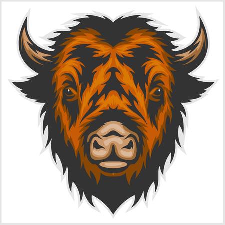 growl: Illustration of buffalo head isolated on white