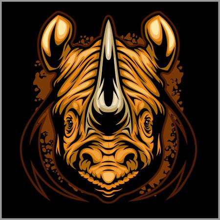 design: Rhino athletic design complete with rhinoceros mascot vector illustration