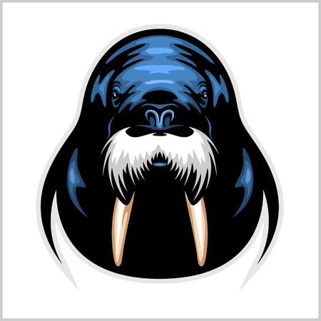 Vector Walrus-embleemmalplaatje voor sportteams, zaken enz. Stock Illustratie