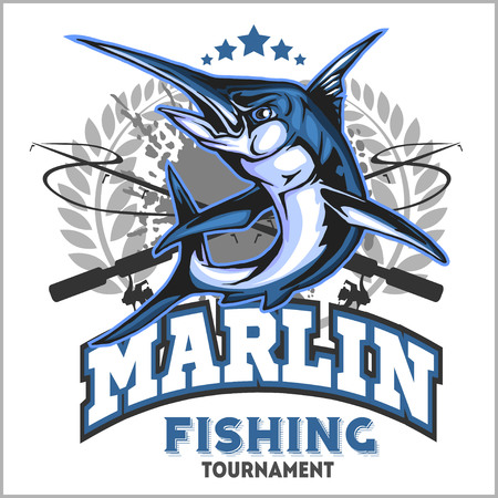 marline: Blue marlin fishing logo illustration. Vector illustration.