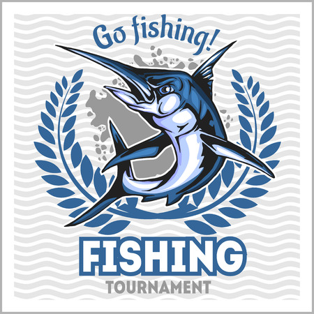Fishing emblem with blue marlin. Badge and design elements Illustration