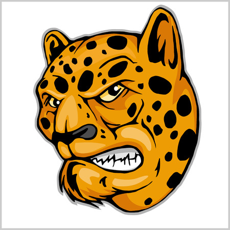 undomestic: Angry Leopard mascot - vector illustration isolated on white Illustration