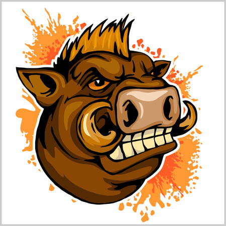 wild boar head mascot Illustration