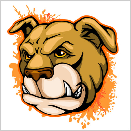 barking: Bulldog Mascot Cartoon Head