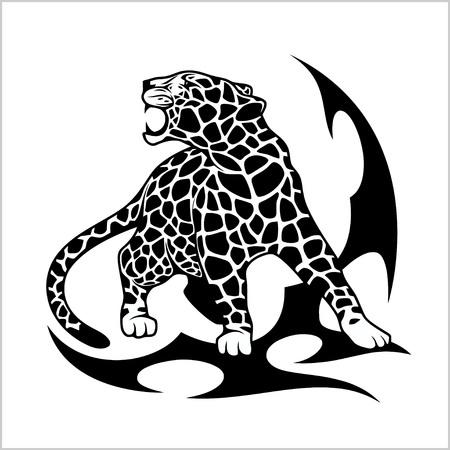 Tatouage à la flamme Jaguar Banque d'images - 76151449