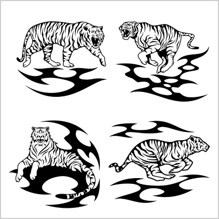 tribalism: Tribal tigers - vector set Illustration