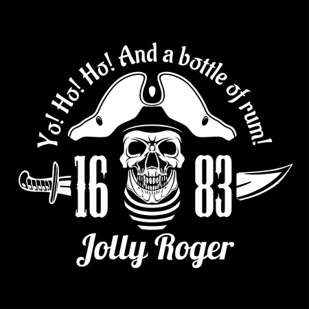 Pirates Jolly Roger symbol. Vector poster of skull with pirate eye patch, crossed bones and swords or sabers. Black flag for entertainment party decor, alcohol drink bar or pub emblem or sign Ilustração
