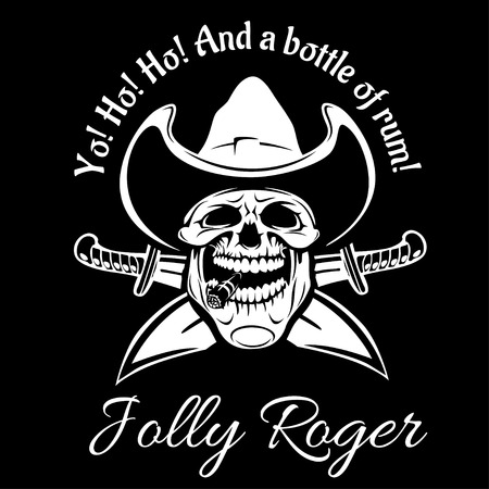 piracy: Pirates Jolly Roger symbol. Vector poster of skull with pirate eye patch, crossed bones and swords or sabers. Black flag for entertainment party decor, alcohol drink bar or pub emblem or sign Illustration
