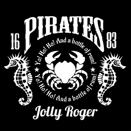 Pirates Jolly Roger symbol. Vector poster of skull with pirate eye patch, crossed bones and swords or sabers.
