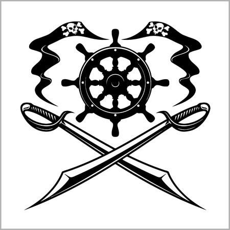Pirates emblem - steering wheel and crossed swords or sabers. Illustration
