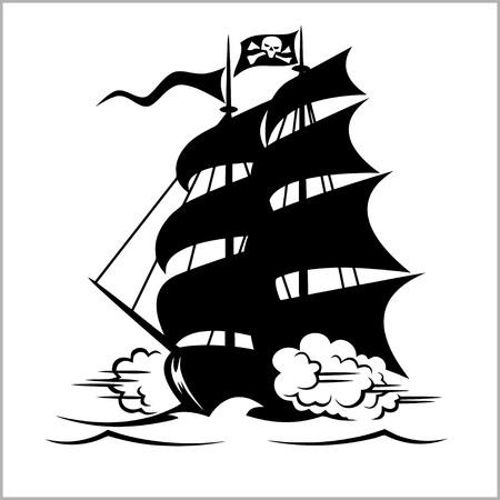 海賊船、ガレオン船、ブリガンティンとジョリーロ ジャー黒旗、ベクトル図の下でカッター
