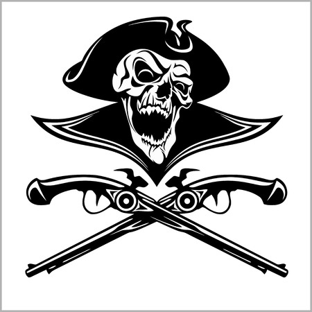 Piracy skull and crossed pistols.