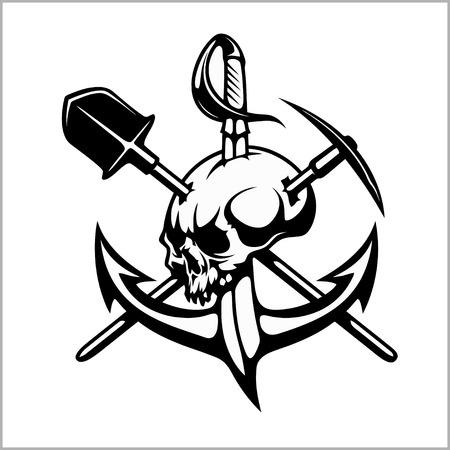 Emblem of treasure hunters, heraldic sign - treasure hunter, vector for print or design