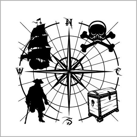 Pirates Emblem - chest of gold, pirate schooner