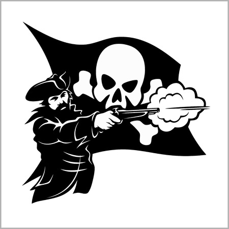Brave pirate with pistol Illustration